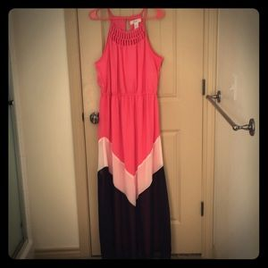 Candies size xl maxi dress in pink white and black